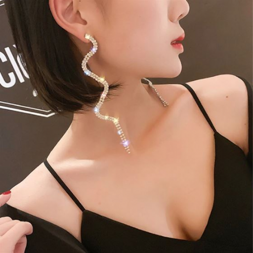 Earrings women's rhinestone long curvy drop fashion jewelry Zabardo